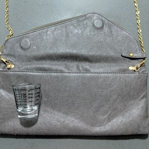 Grey clutch + gold chain